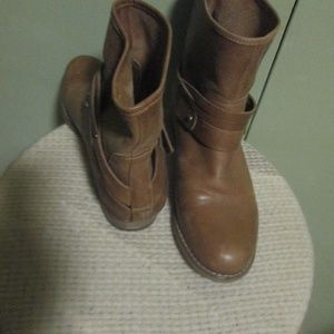 Marc Fisher Brown Leather Slouch Ankle Boots  7M